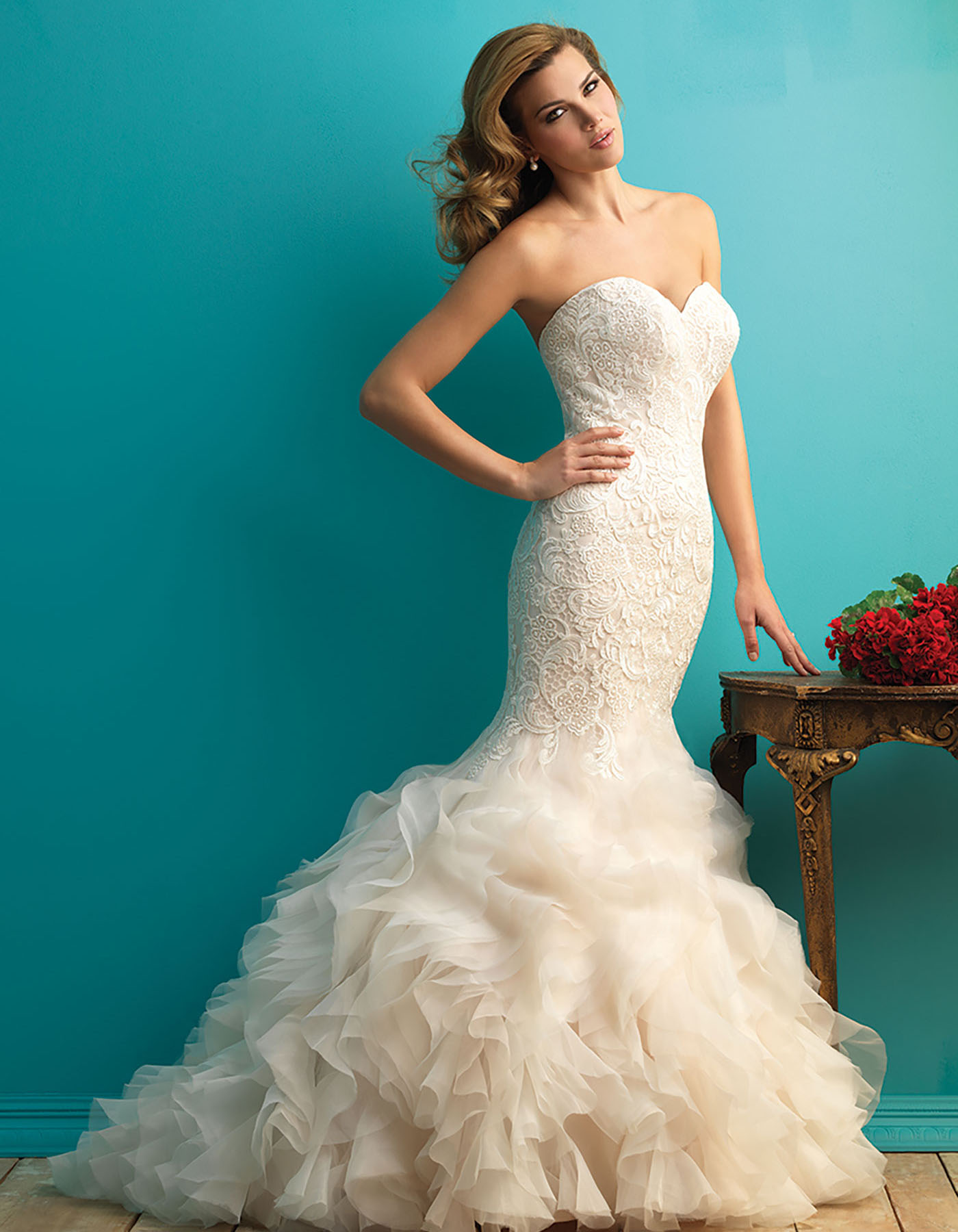Fishtail wedding dress with ruffled skirt   9254 by Allure Bridals