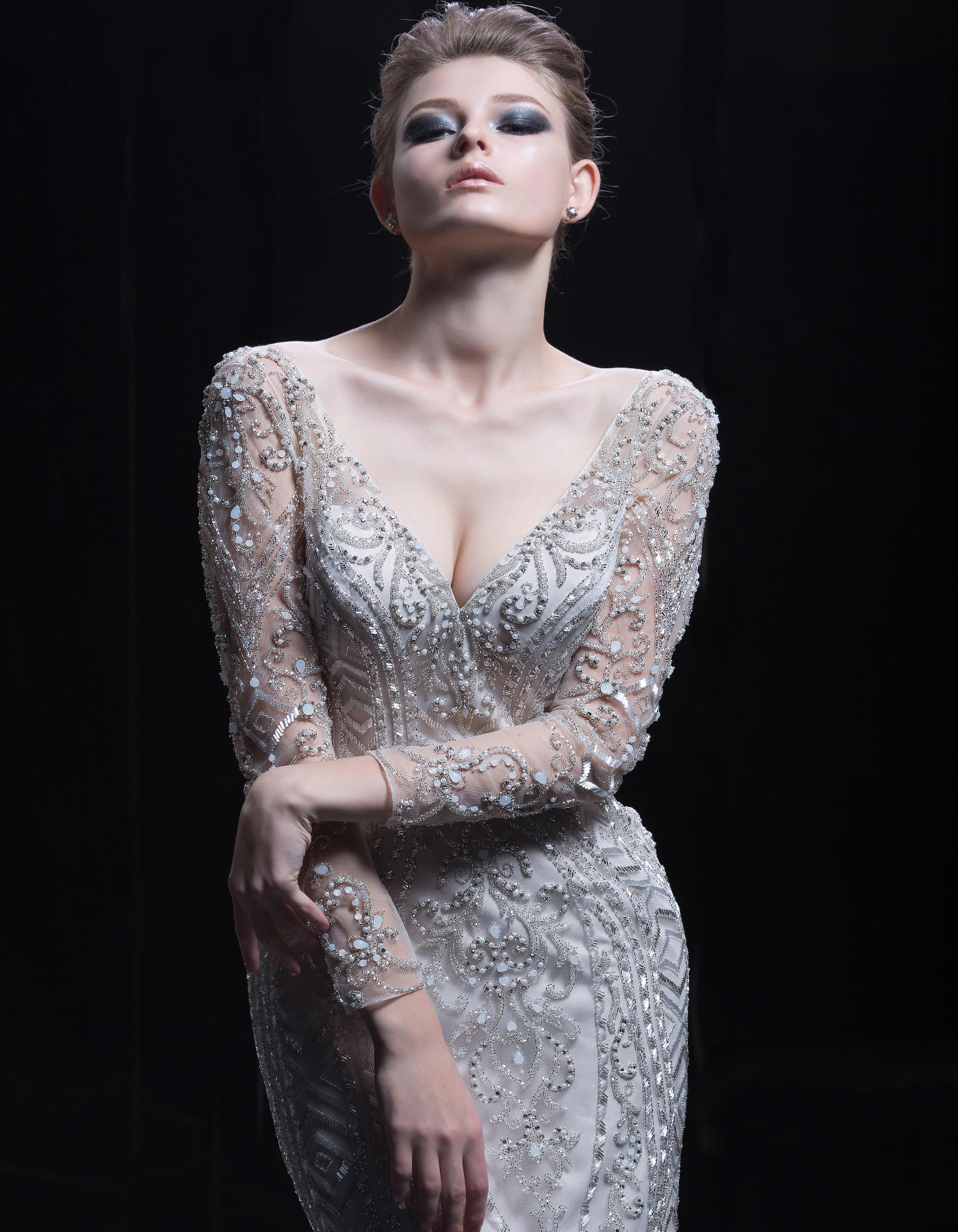 A Glamorous Beaded Wedding Dress 333 By Demetrios Platinum