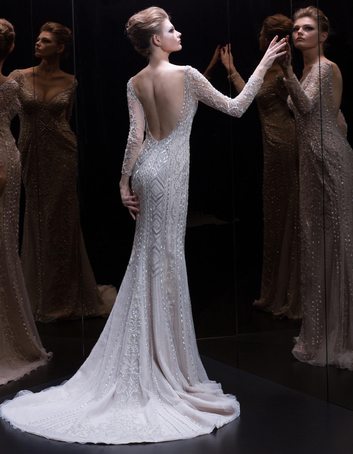 A glamorous beaded wedding dress | 333 by Demetrios Platinum