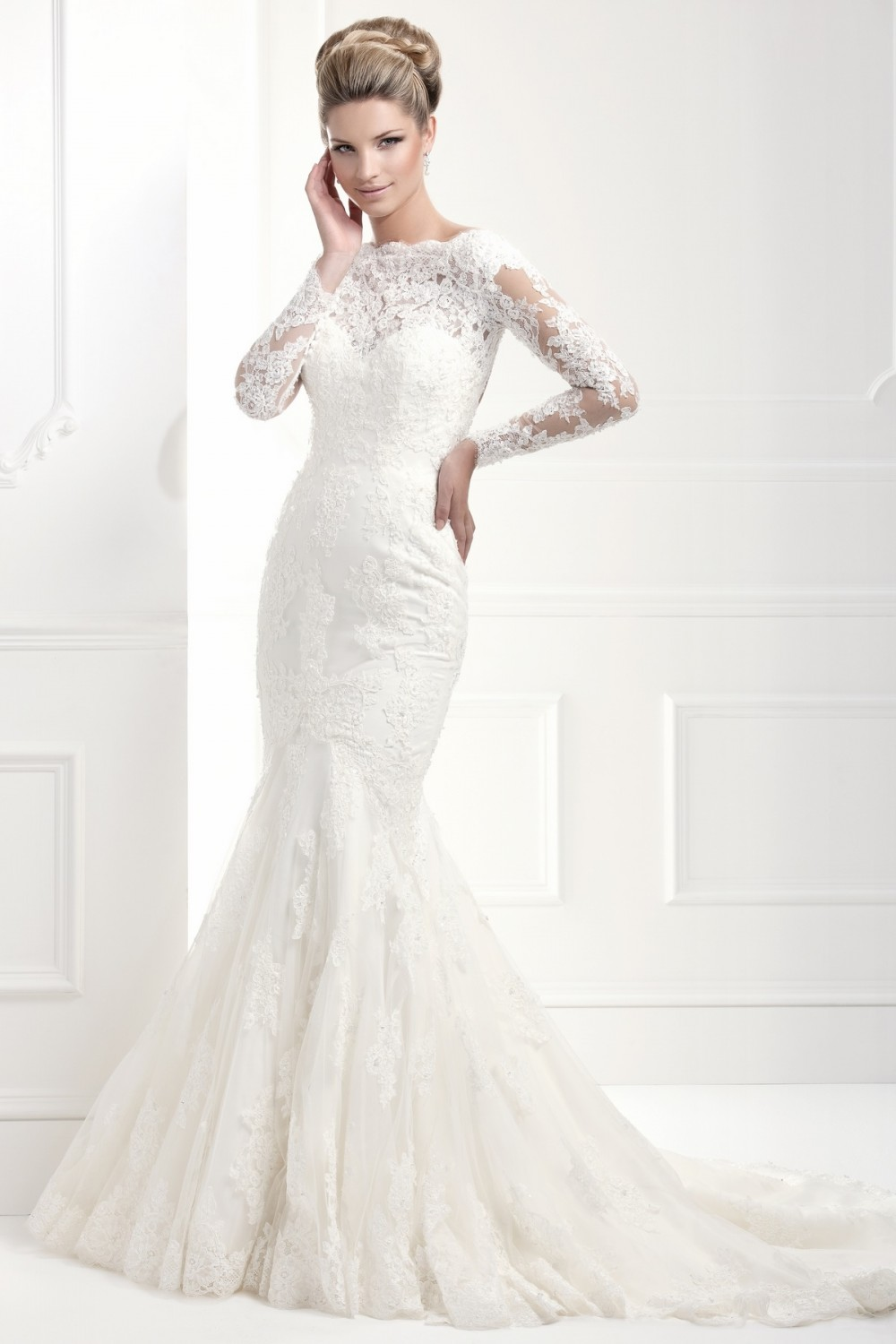 11368A | Ellis Bridals - Modest lace wedding dress with long sleeves