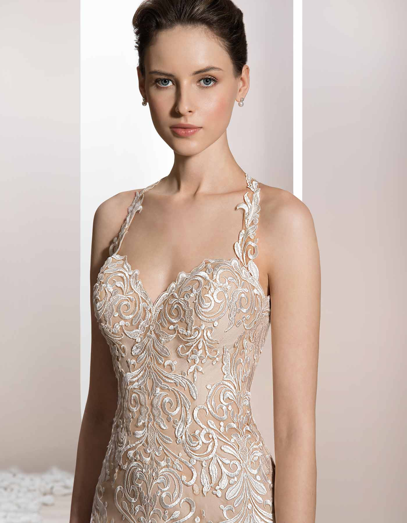 705 By Demetrios Sexy Lace Wedding Dress With Halter