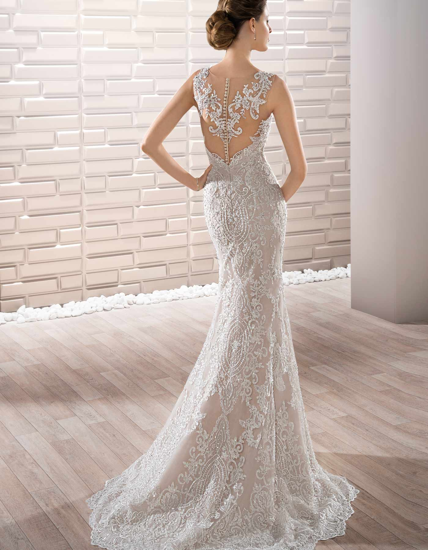 707 By Demetrios Fitted Lace Gown With A Full Tulle