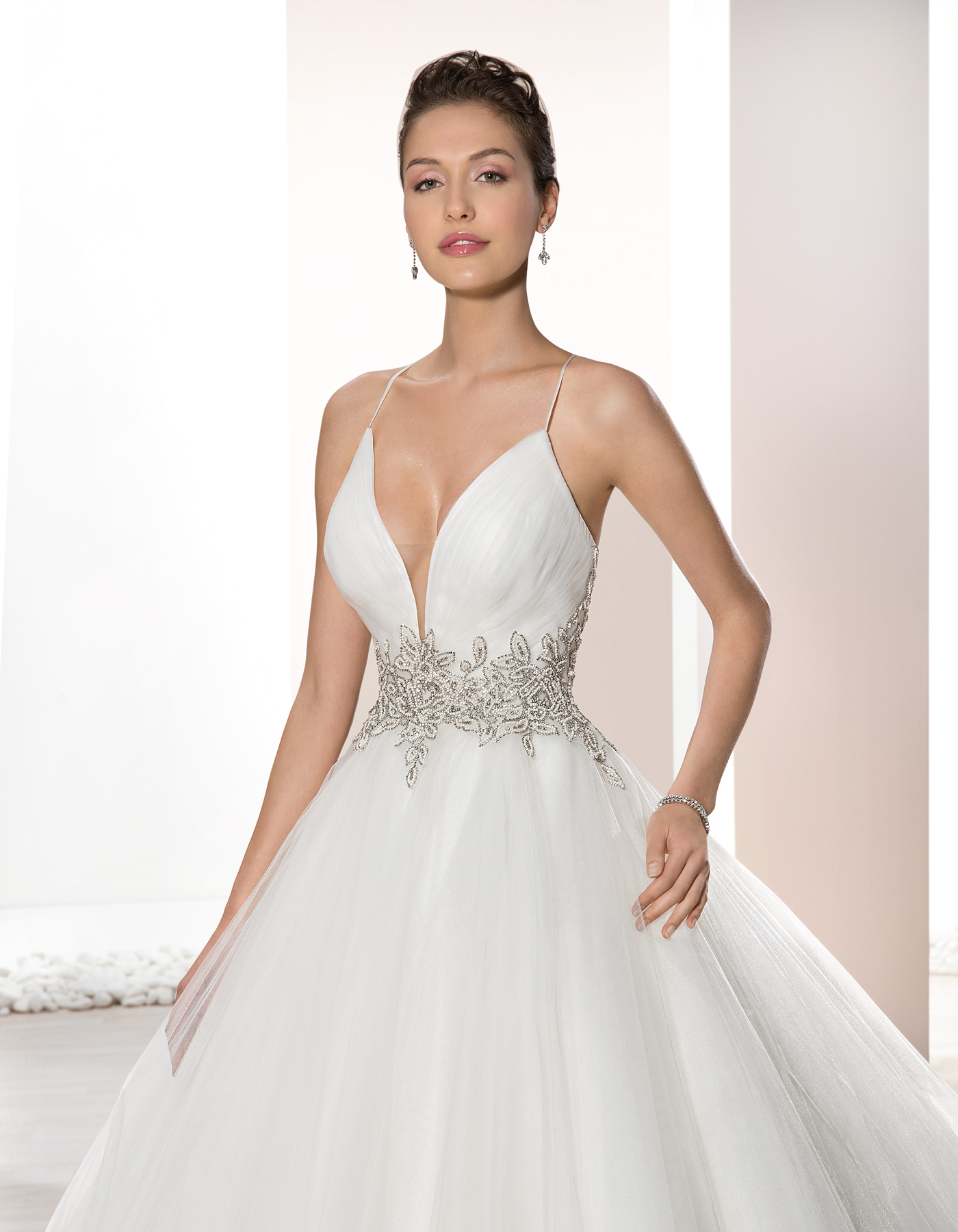 725 By Demetrios Tulle Ball Gown With Plunging Neckline