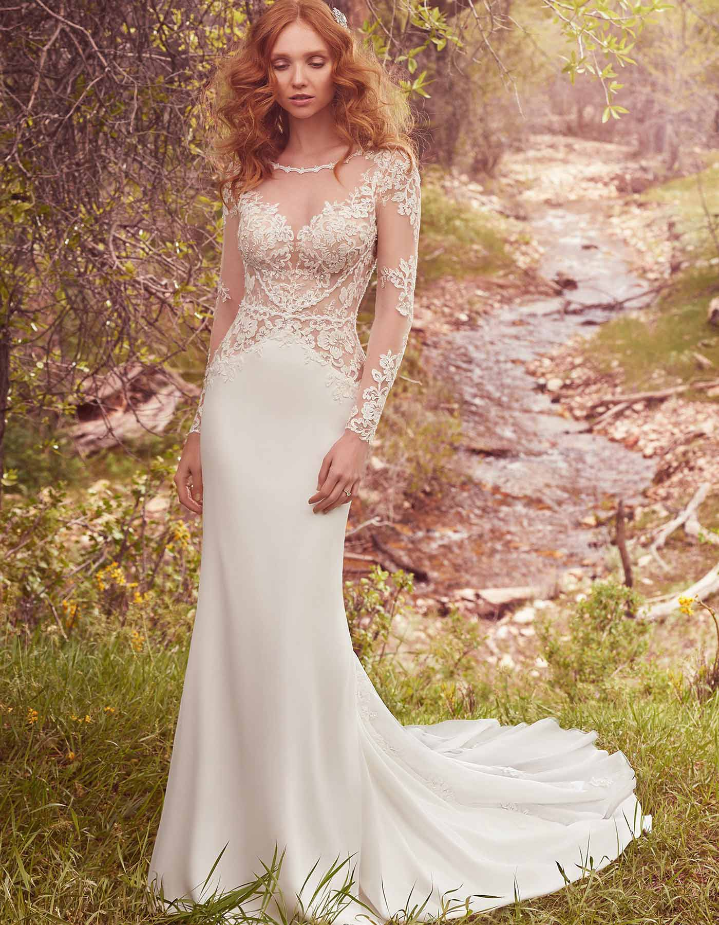 Long Sleeve Wedding Dress With Open Back