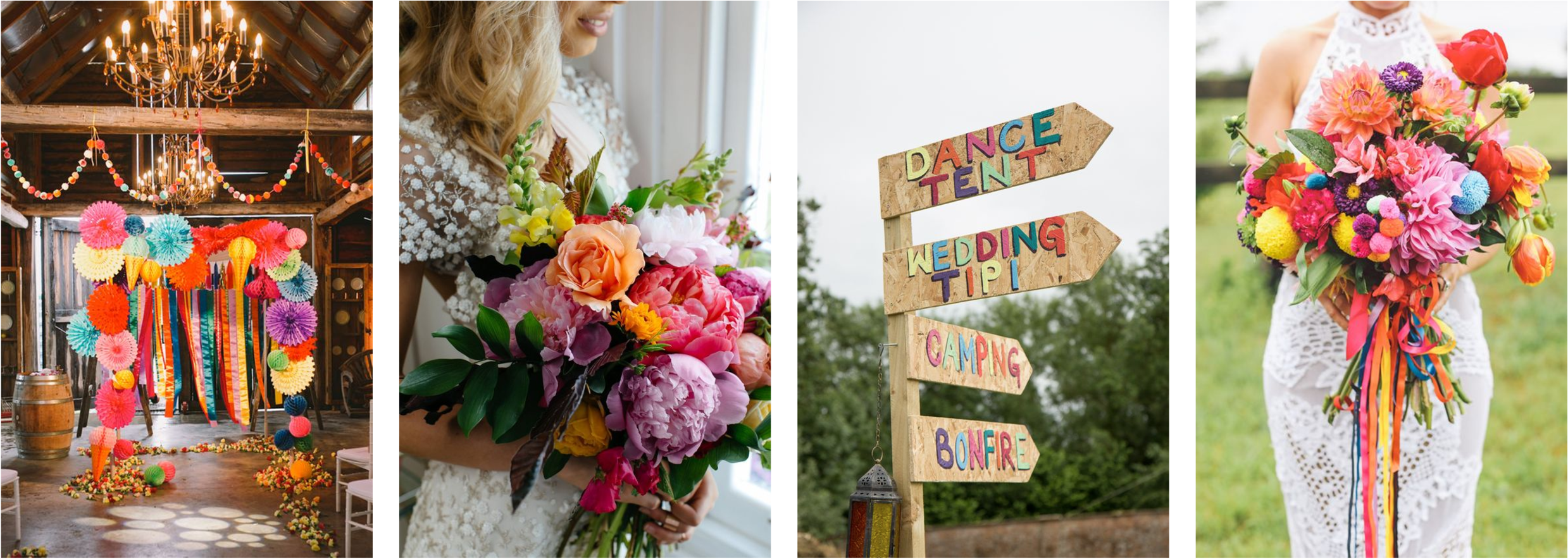 Bright coloured wedding styling