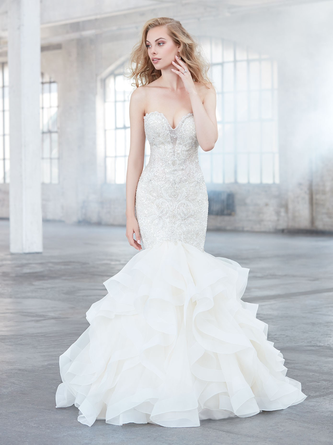 Allure Bridal Gowns Melbourne : Fishtail wedding dress featuring a beaded bodice madison james