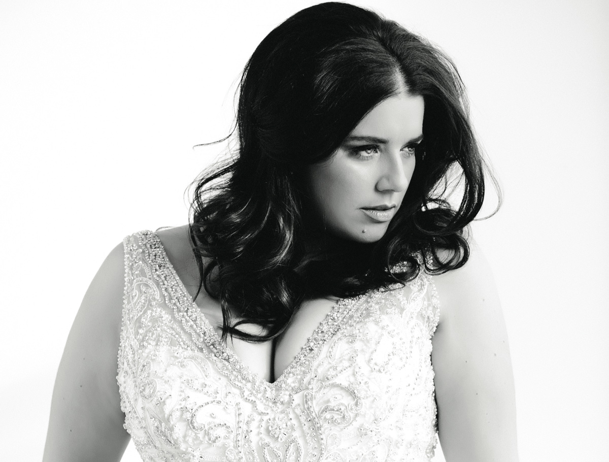 Plus size wedding dress model