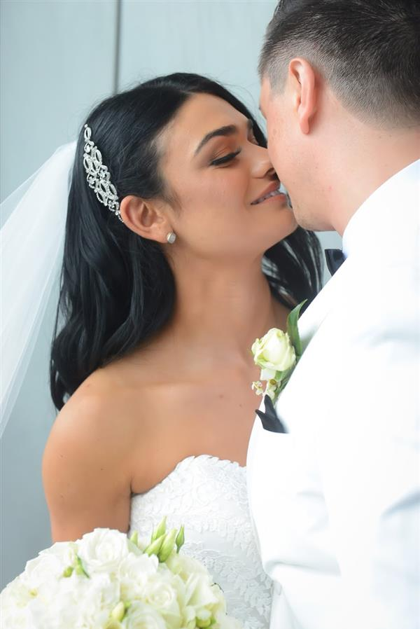 romantic photo of real bride michelle wearing Beca by Pronovias wedding dress