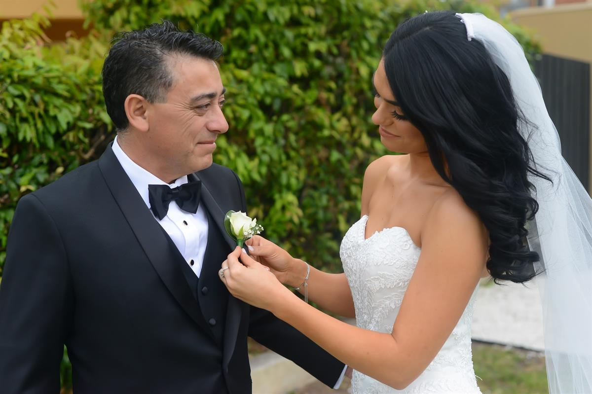 Daughter and dad wedding photo of real bride michelle wearing Beca by Pronovias wedding dress