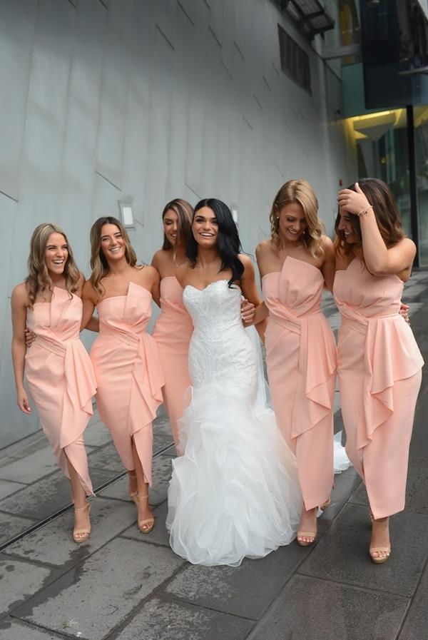 Peach bridesmaids wedding photo of real bride michelle wearing Beca by Pronovias wedding dress