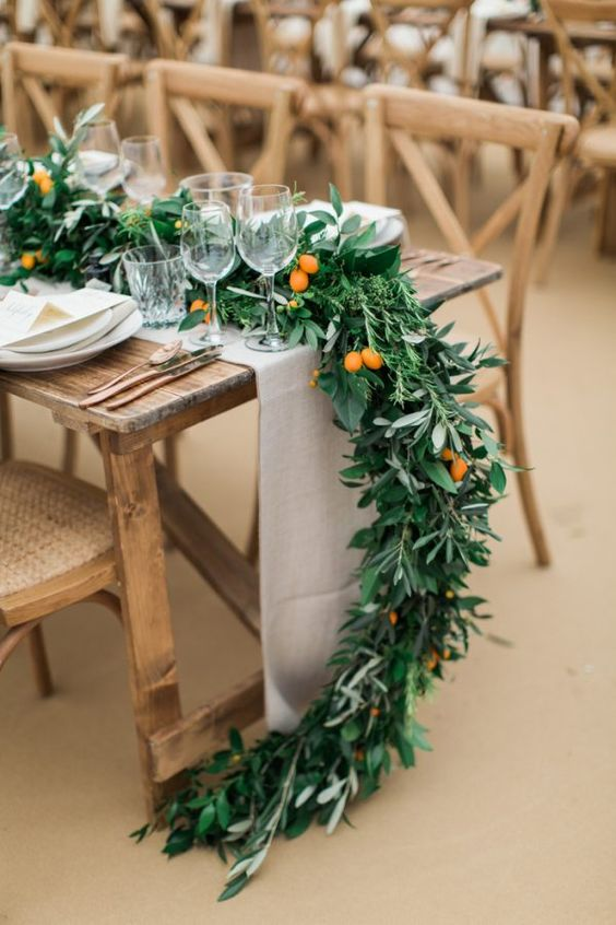 leafy table runner wedding styling