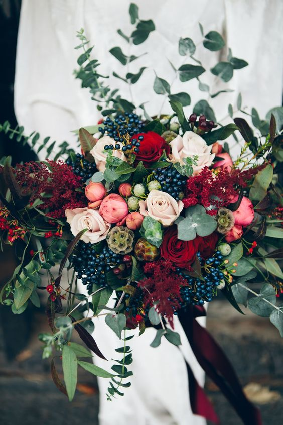 rustic wedding bouquet, red and green