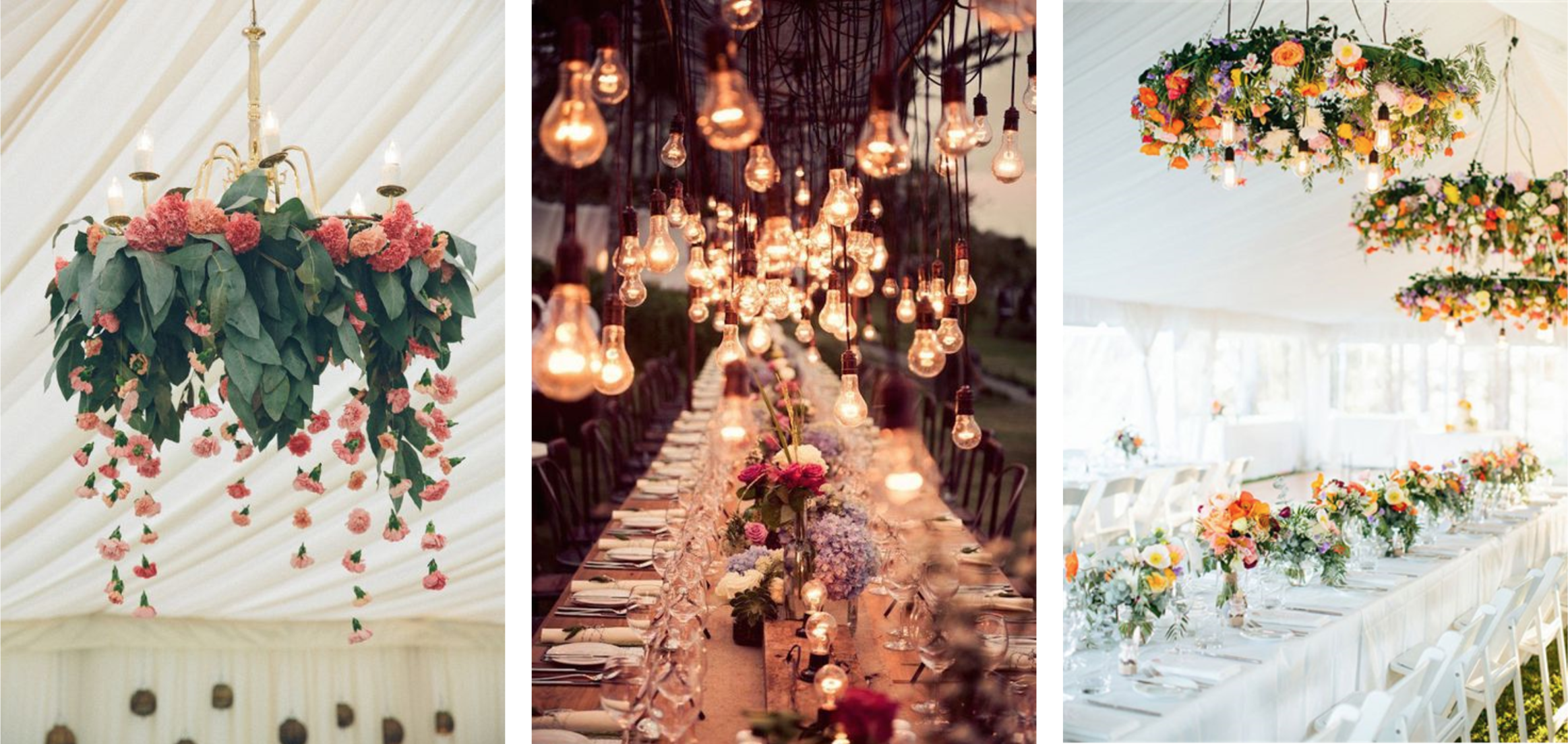 hanging flowers and lights wedding styling