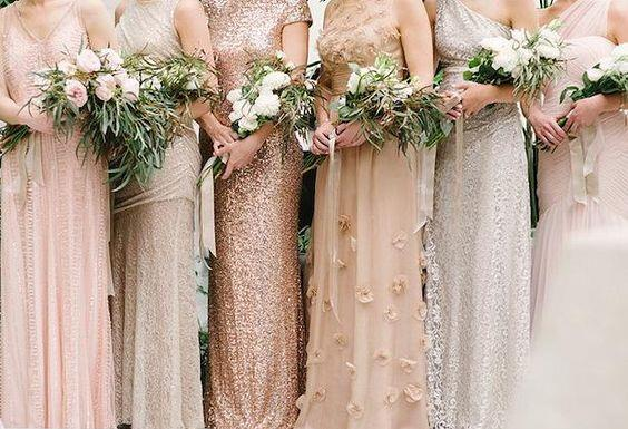 neutral bridesmaids dresses with metallic beading