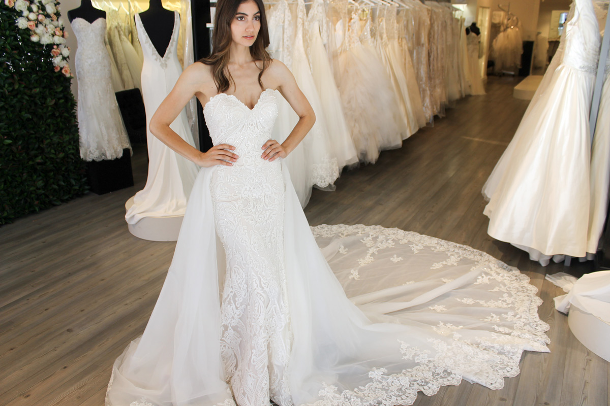 Hadley by Sottero and Midgley wedding dress with overskirt at Raffaele Ciuca Bridal Brunswick bridal shop