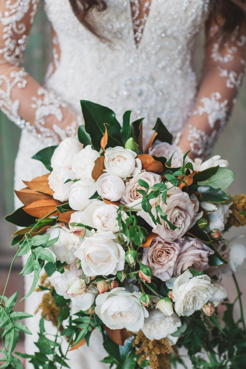 rustic bouquet Real Bride Isabelle marries in Demetrios Platinum 330 wedding dress at Stones of the Yarra Valley