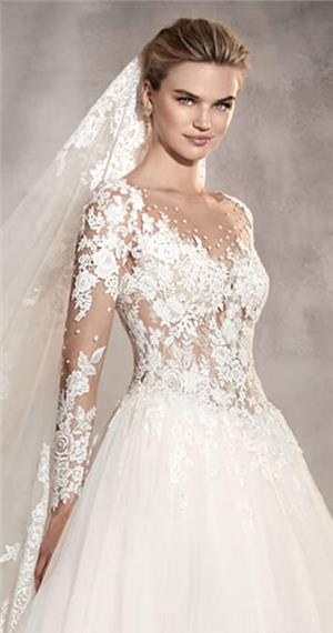 basque waist wedding dress