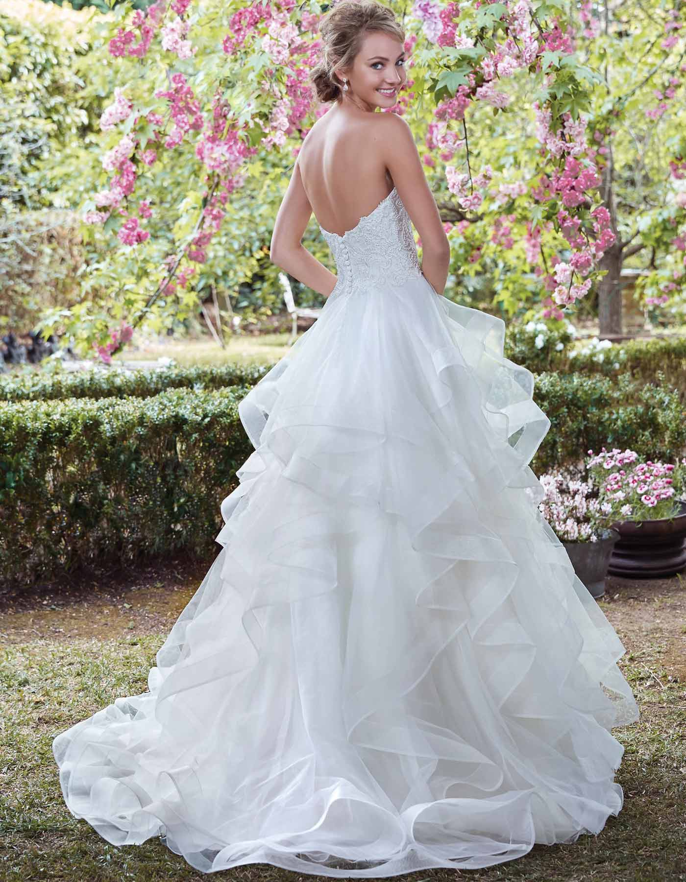 Strapless ruffled wedding dress | Grace by Maggie Sottero