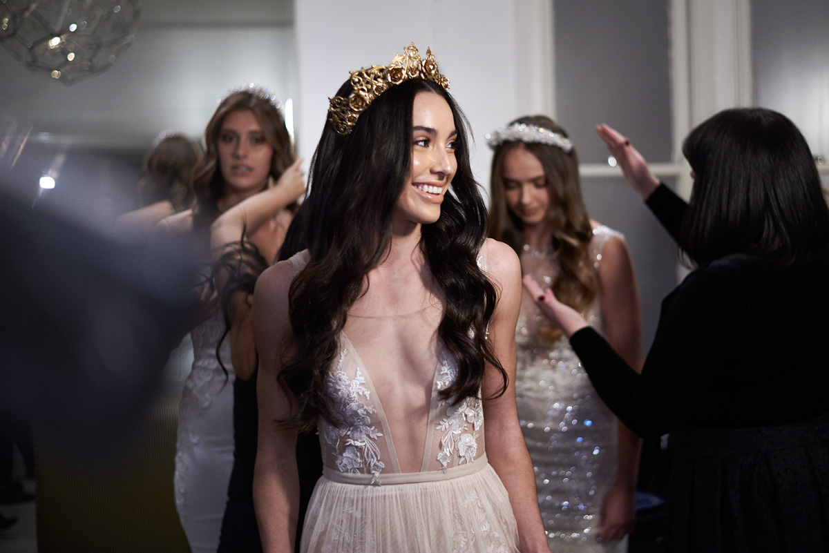 Muse by Berta launch model wear Viktroria Novak crown Raffaele Ciuca Bridal Melbourne