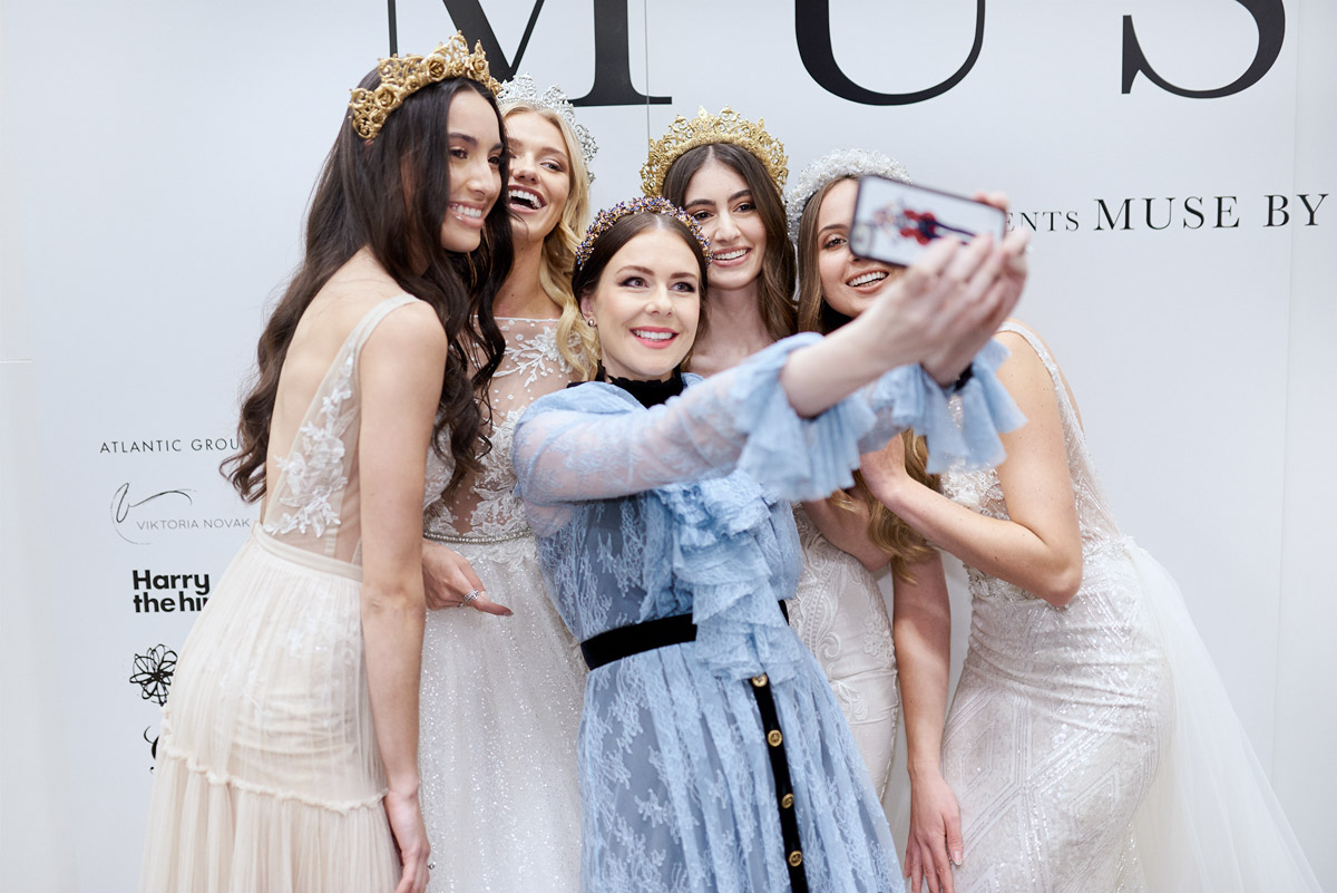 viktoria Novak with models wearing muse by berta wedding dresses in melbourne
