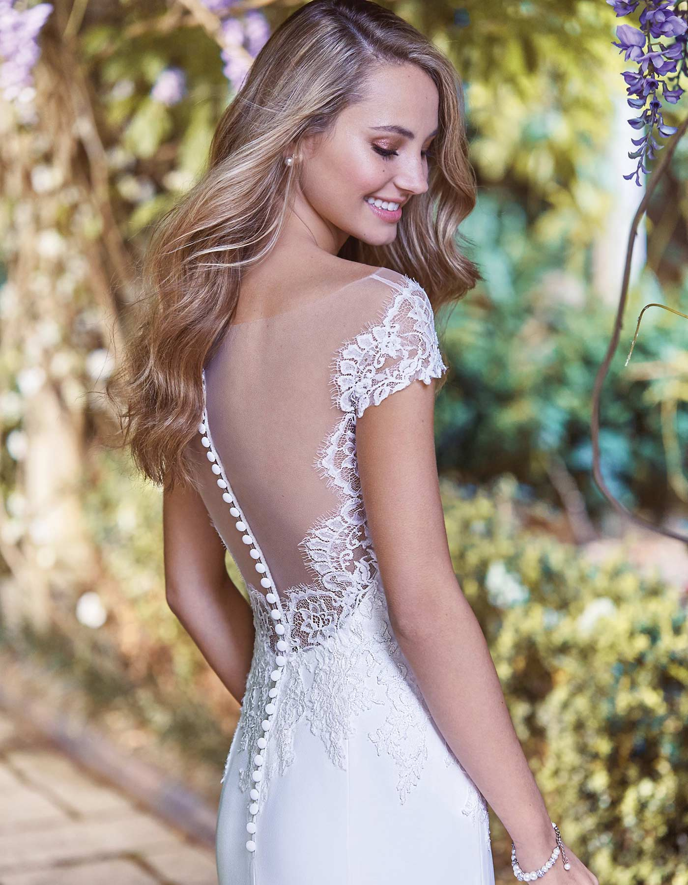 Off the shoulder lace wedding dress | Naomi Maggie Sottero