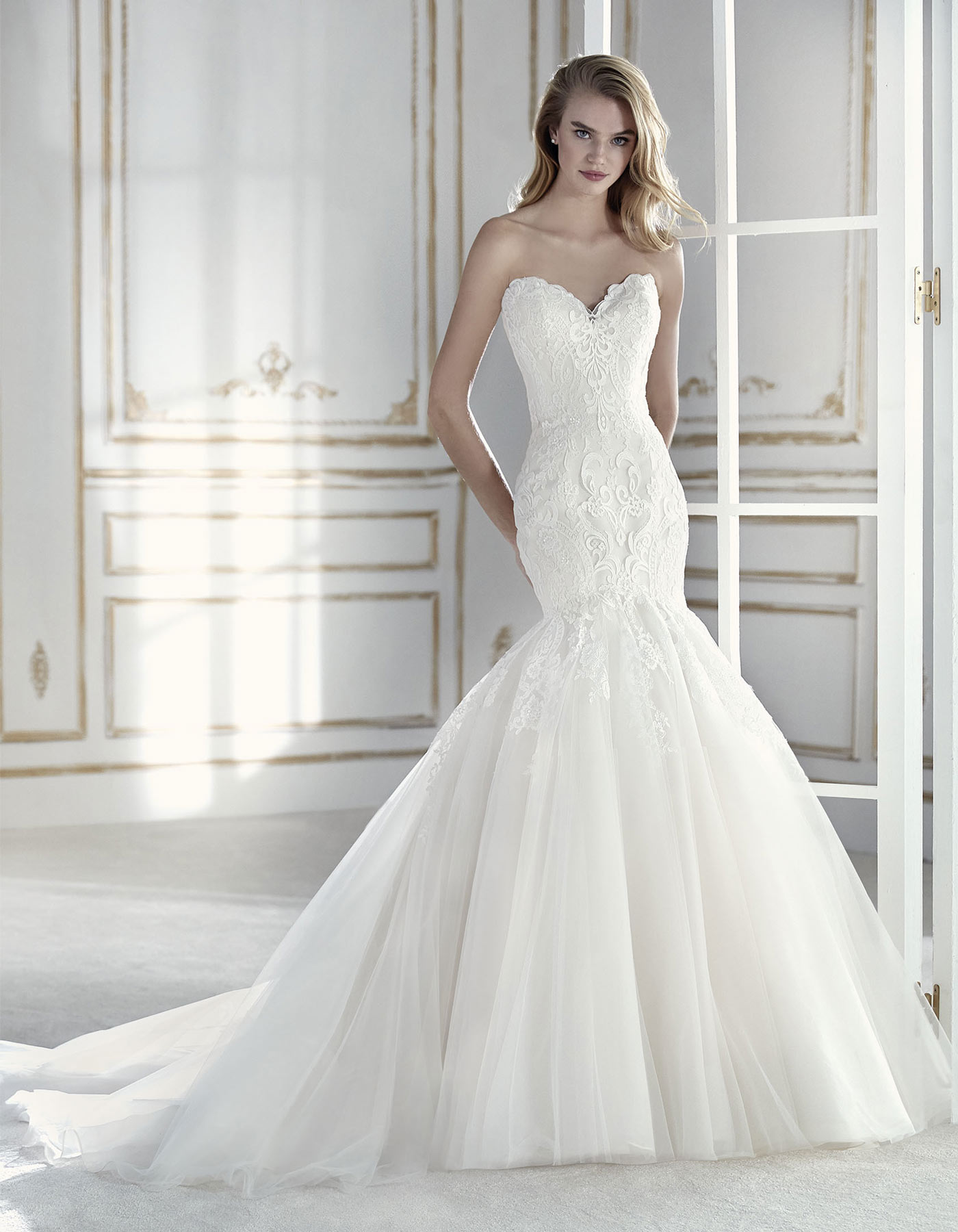Fishtail lace wedding dress paulet by la sposa for La sposa wedding dress
