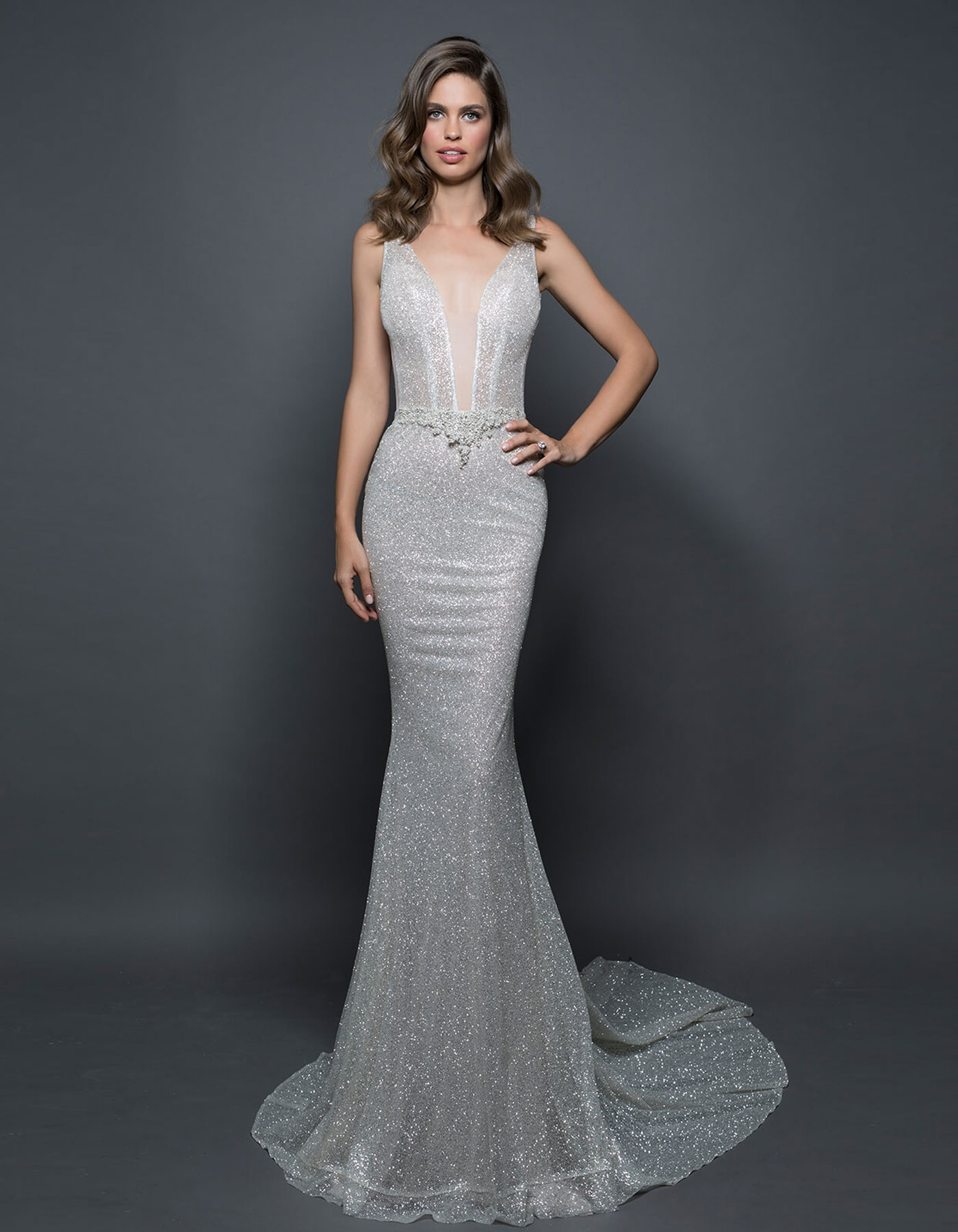 Glitter Wedding Dress With Overskirt 14584 By Pnina Tornai