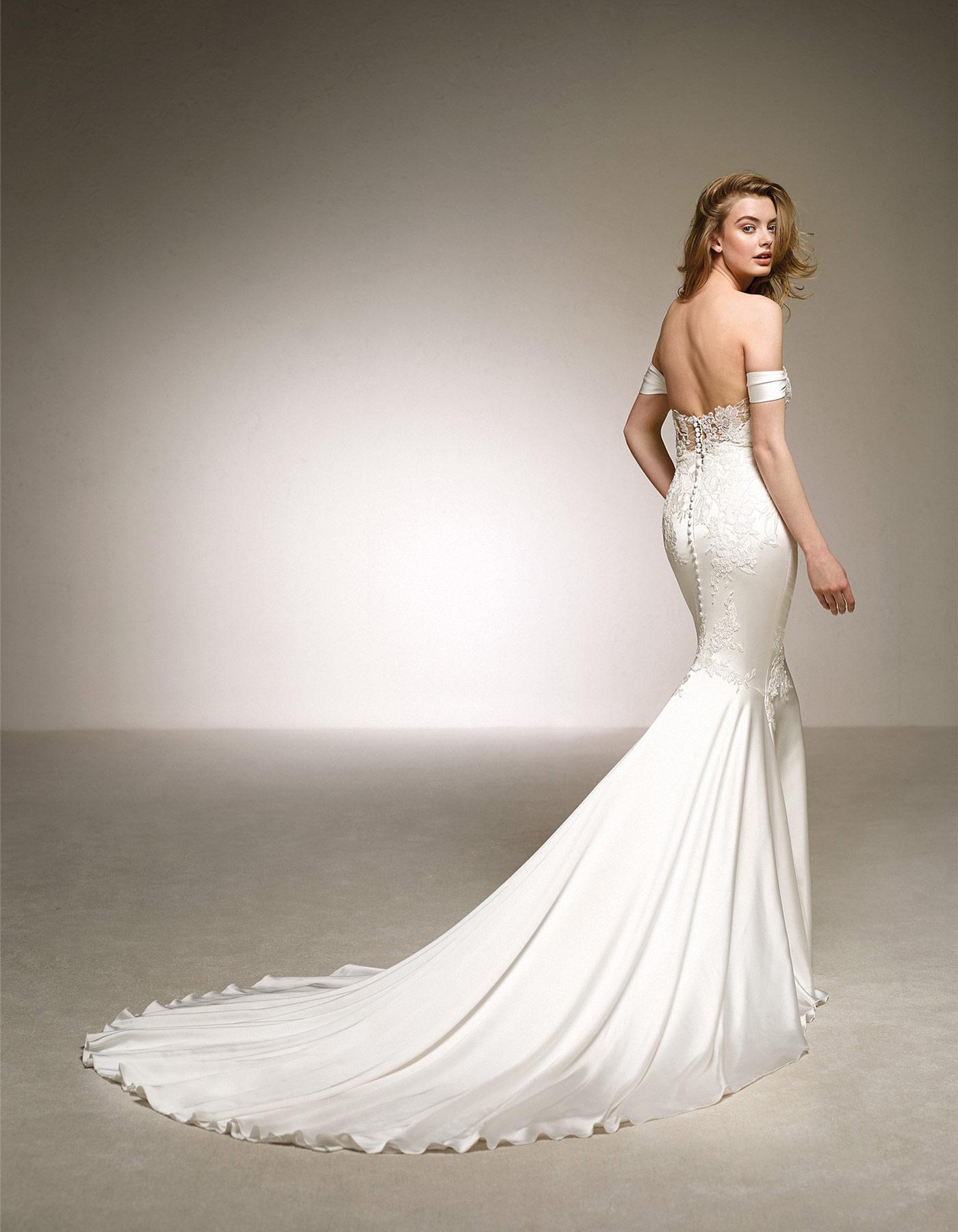 Off The Shoulder Satin Wedding Dress Dante Pronovias