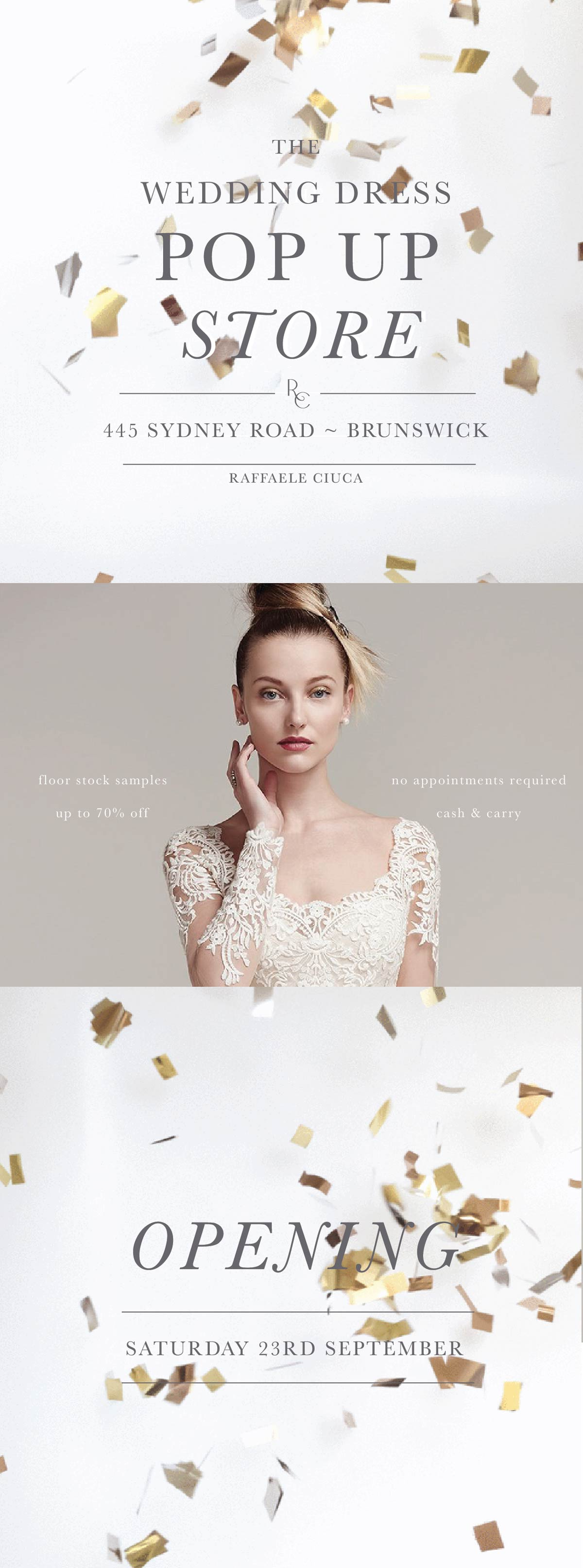 Raffaele Ciuca wedding dress pop up store - discounted, affordable bridal gowns melbourne