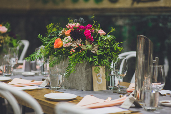 industrial table settings wedding