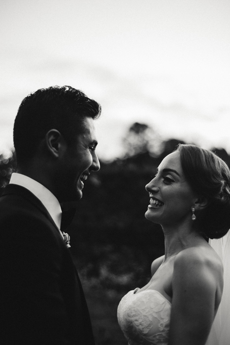 black and white wedding photo romantic bride and groom
