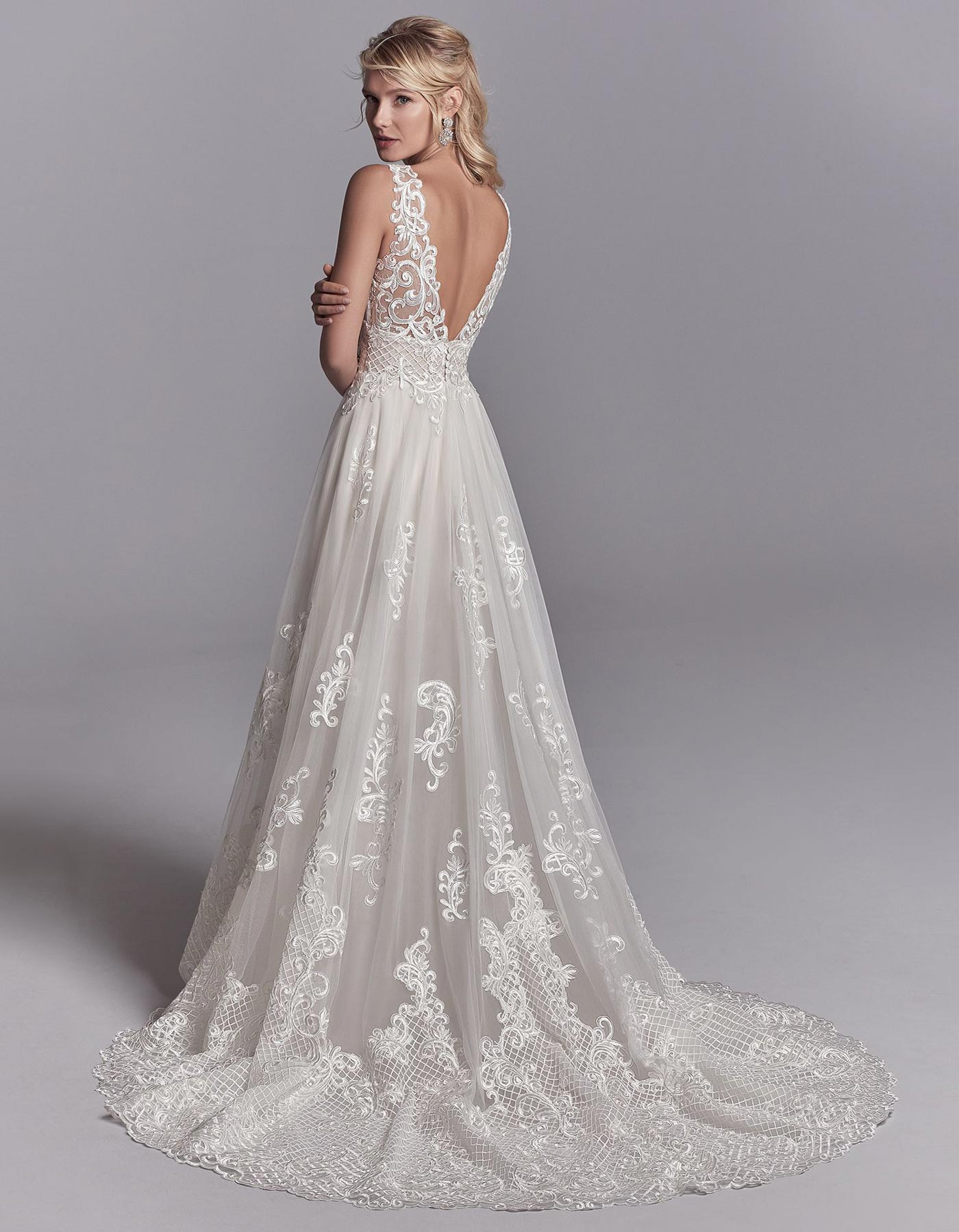 V Neck A Line Wedding Dress Oliver By Sottero And Midgley