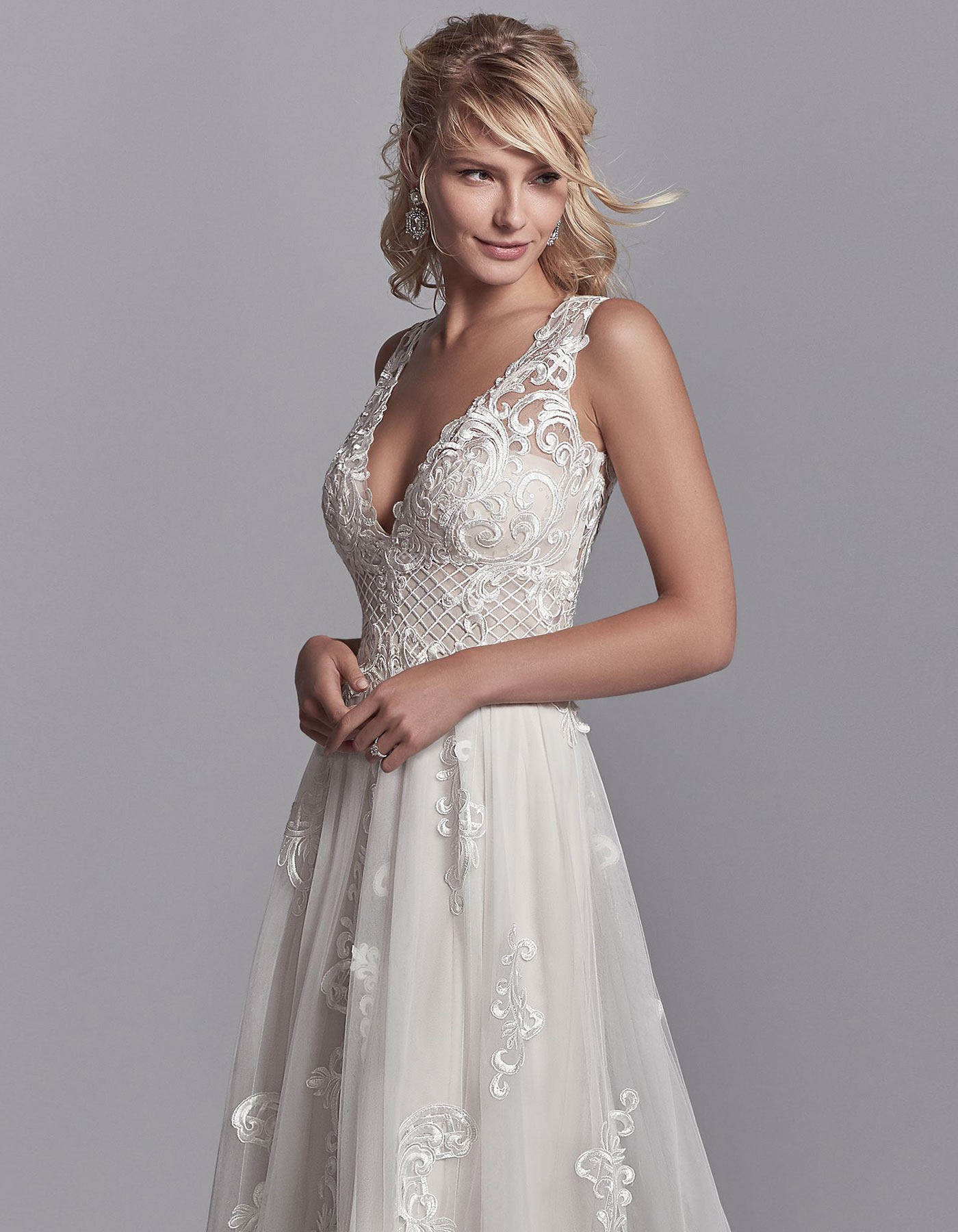 a line wedding dress melbourne v neck a line wedding dress oliver by sottero and midgley