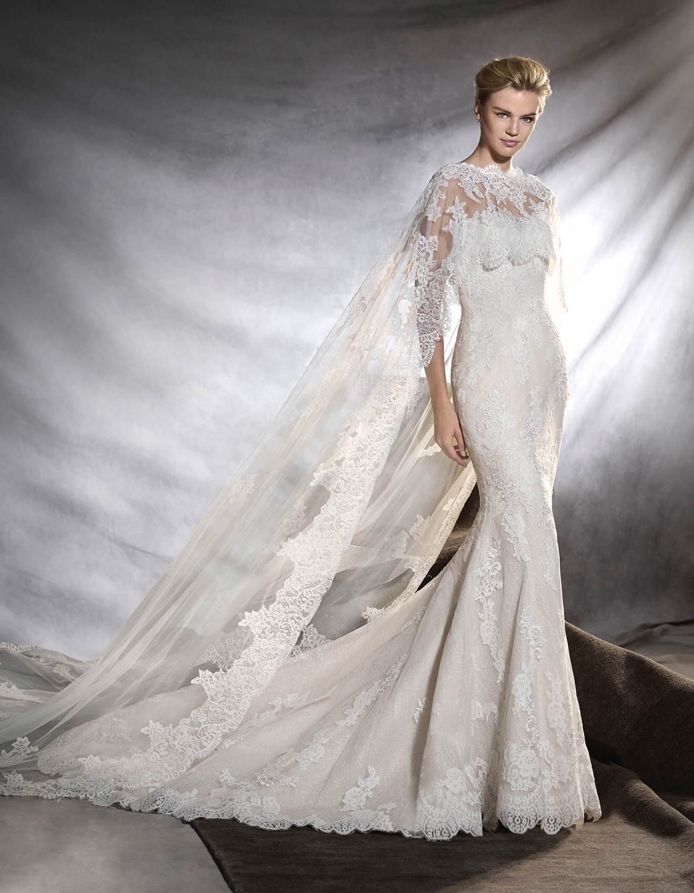 Pronovias Oringo wedding dress in lace with cape, Melbourne