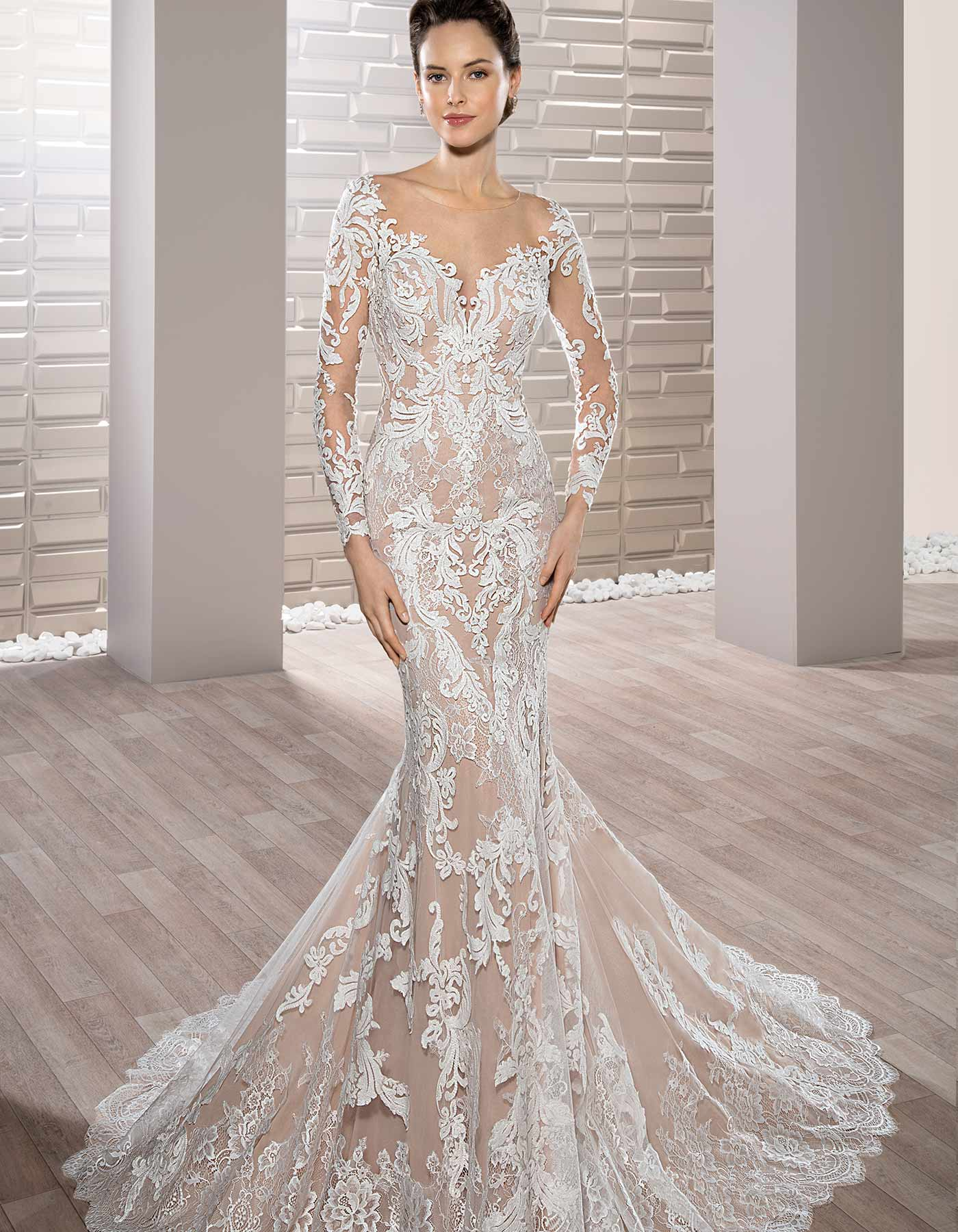 Bold Lace Wedding Dress With Long Sleeves 717 By Demetrios
