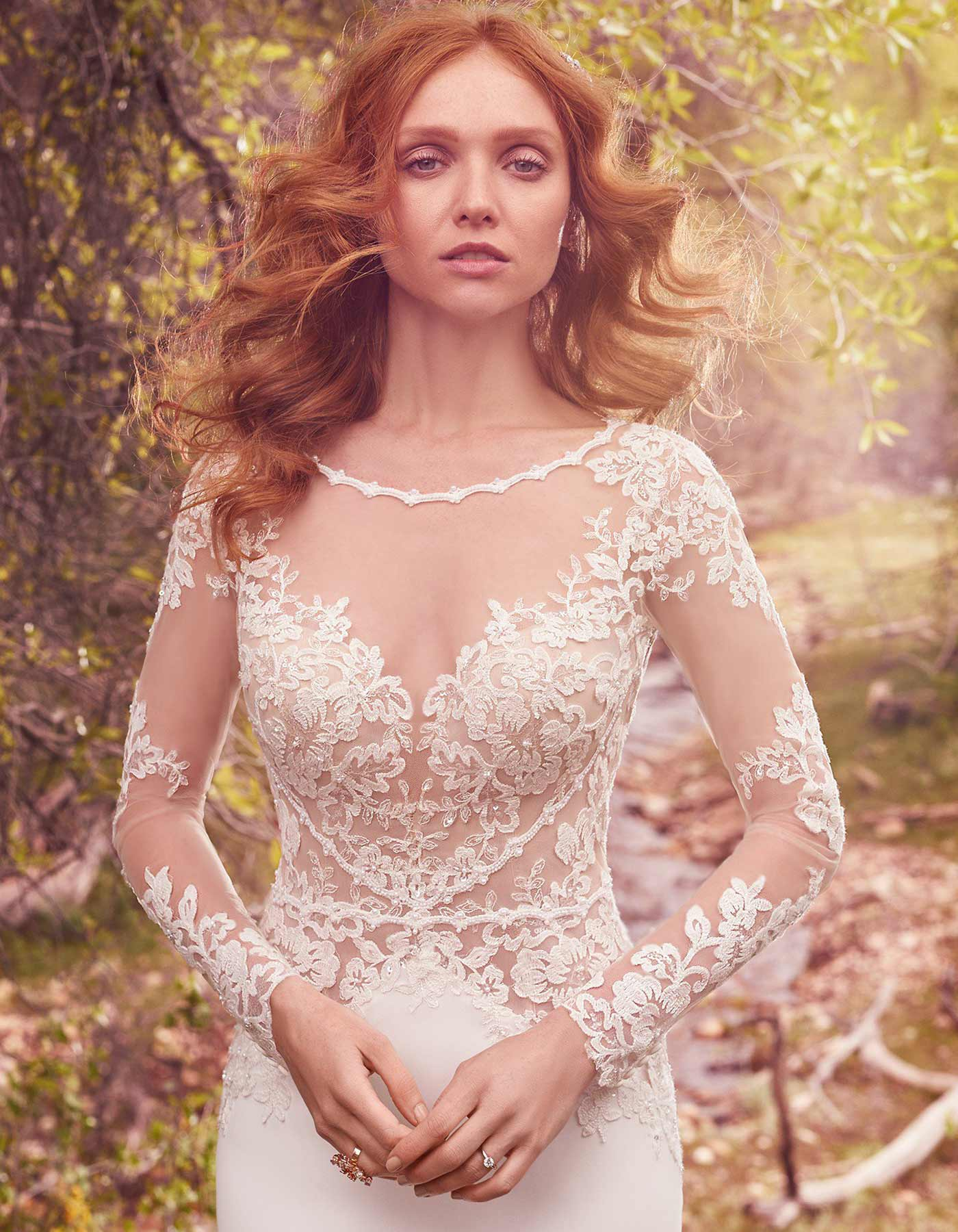 Long sleeve wedding dress with open back | Blanch by Maggie Sottero