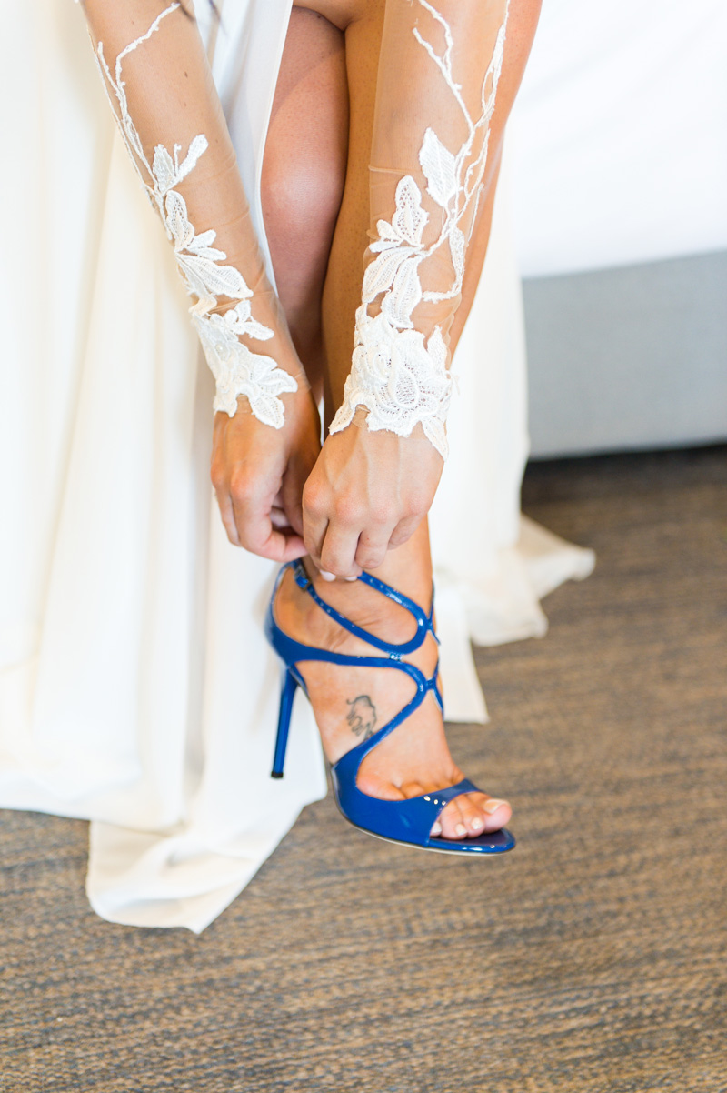 Real bride wedding Berta Bridal 14-11 Australia - blue stilettos