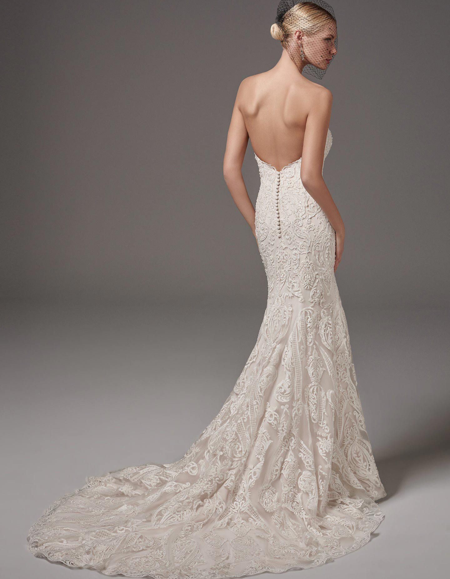 Sottero and Midgley Hadley lace wedding dress with sweetheart neckline
