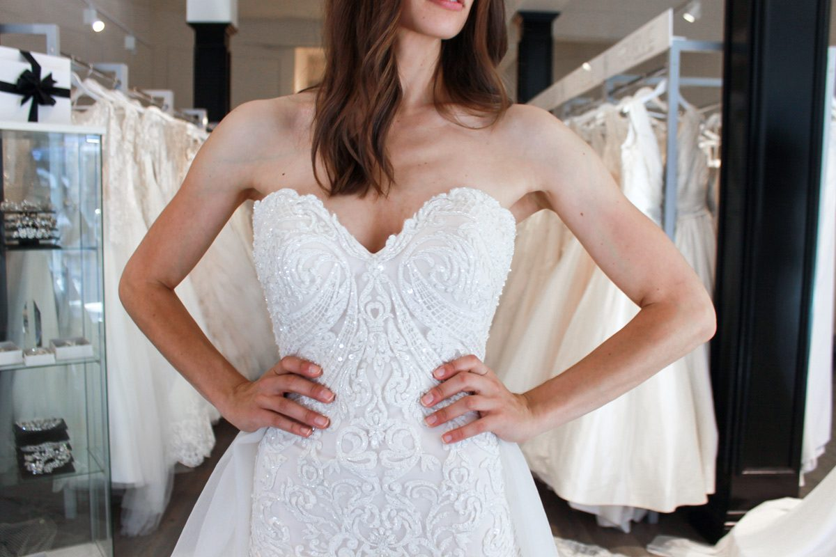 strapless lace wedding dress with sweetheart neckline