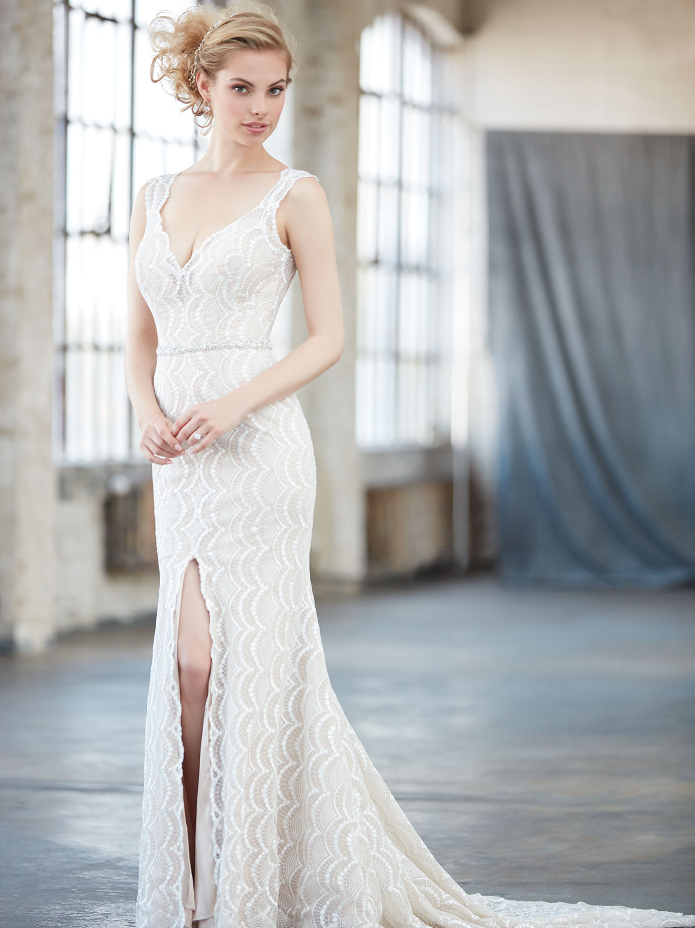 Lace wedding dress featuring front split, Madison James 2017 Trunk Show coming to Raffaele Ciuca, Melbourne