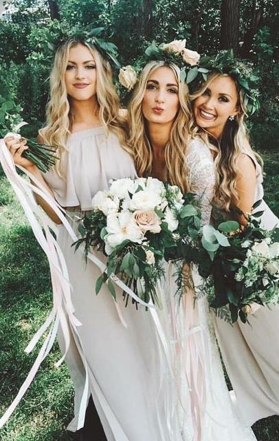 Bohemian nude bridesmaids, long hair