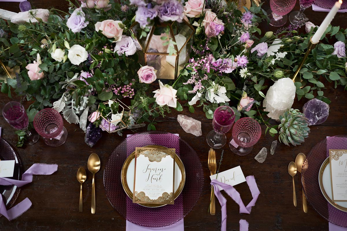 purple and gold bohemian table setting