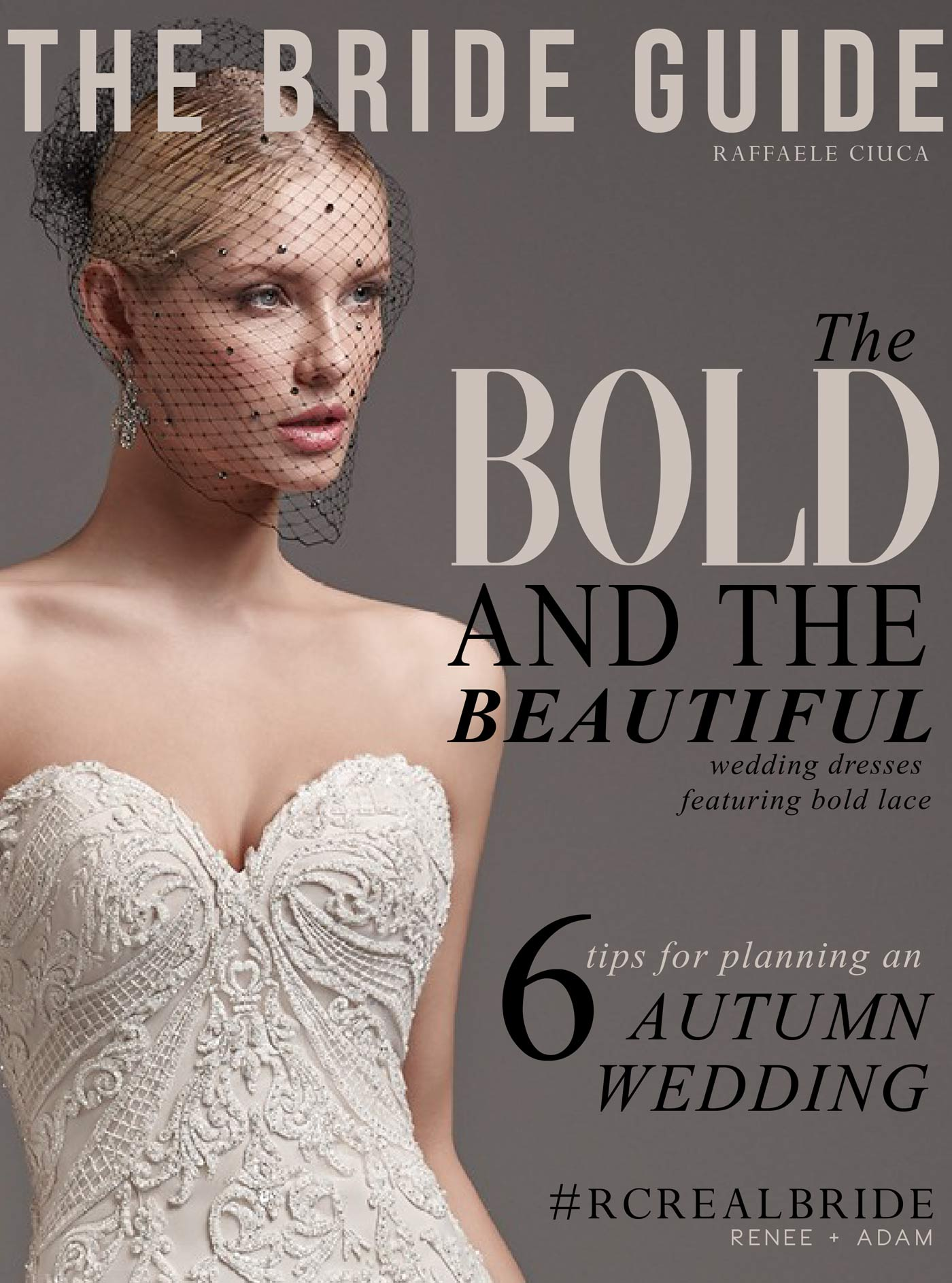 Cover of the Bride Guide featuring wedding dresses with bold lace