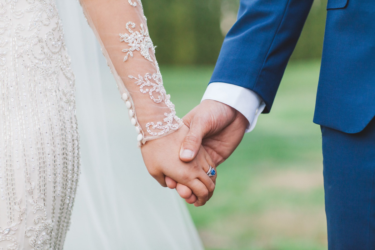 sapphire ring Real Bride Isabelle marries in Demetrios Platinum 330 wedding dress at Stones of the Yarra Valley