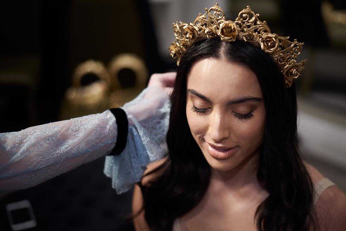 Muse by Berta launch model wear Viktroria Novak crown Raffaele Ciuca Bridal Melbourne