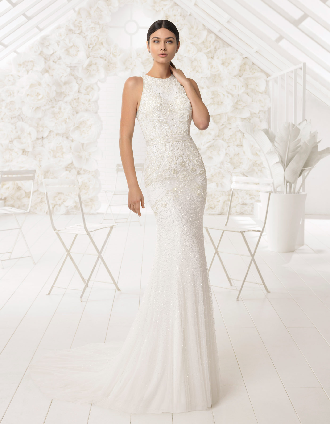 Beaded slinky wedding dress | Lori Rosa Clara Soft