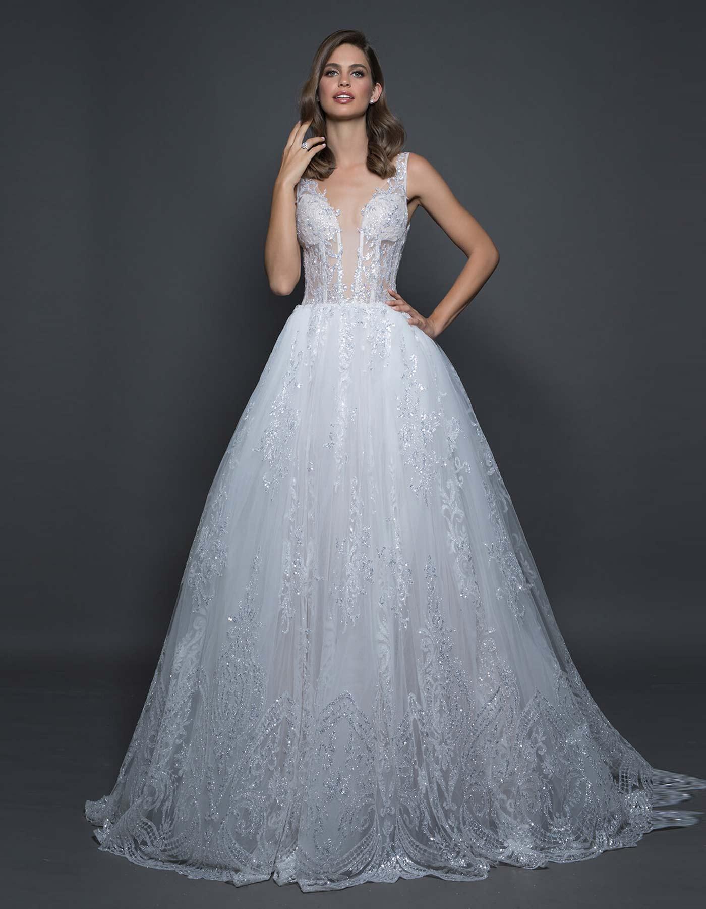 Glitter ball gown wedding dress   14606 by Pnina Tornai Love