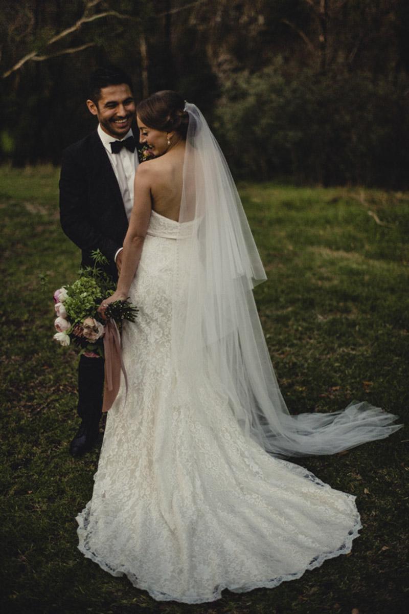 bride and groom photo wedding dress train
