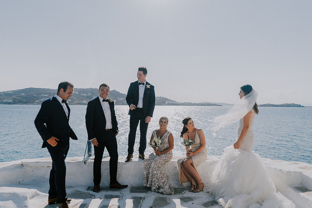bridal party group photo destination wedding greece