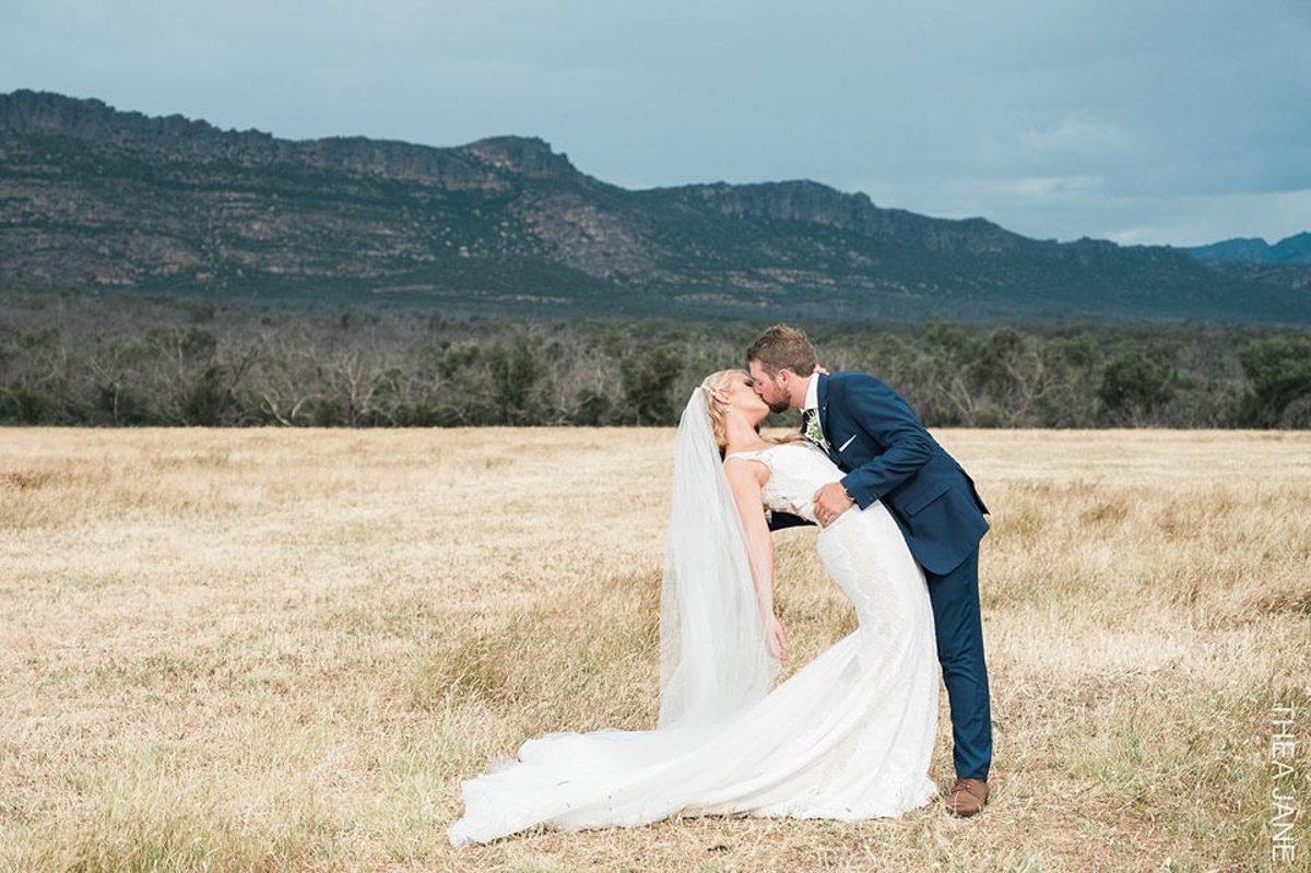 real bride wears Pronovias Tamar wedding dress